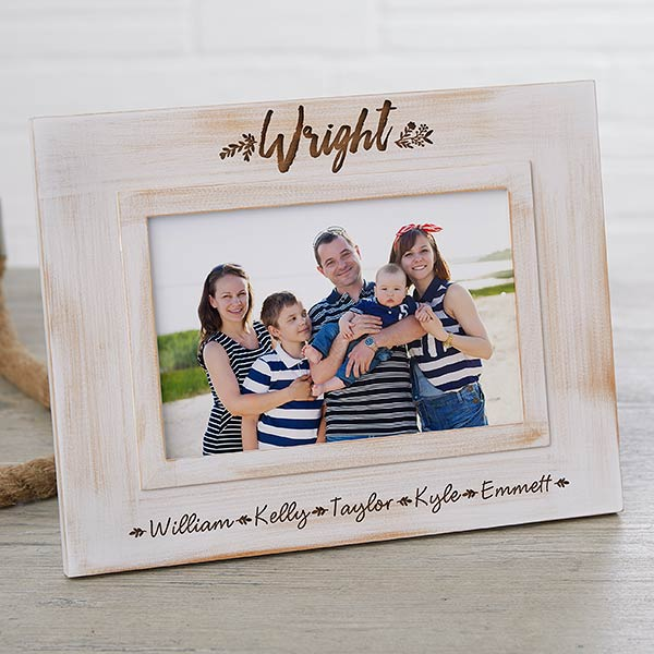 Personalized Farmhouse White Washed Picture Frame - 19146