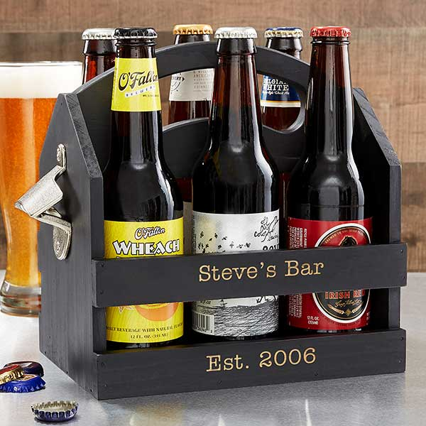 Personalized 6pk Beer Caddy Bottle Opener - 19151