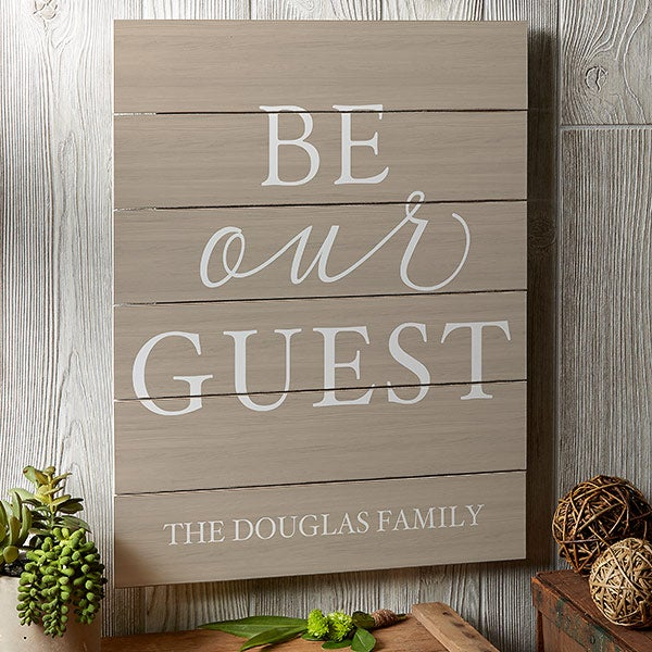Guest Room Wall Decor - Personalized Wood Plank Signs - 19167