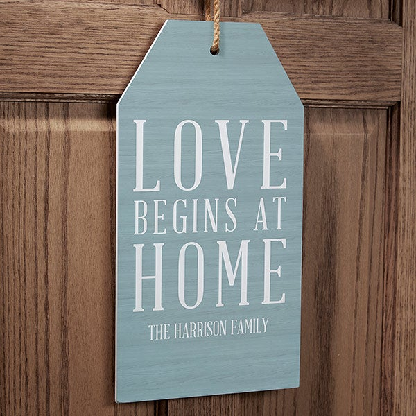 Personalized Wall Art Wood Tag - Love Begins - 19184