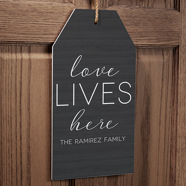 Personalized Wall Art Wood Tag - Love Lives Here - 19187