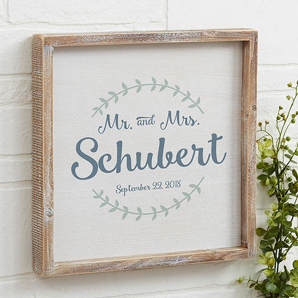 Whitewashed Framed Personalized Wedding Wall Art - 19250