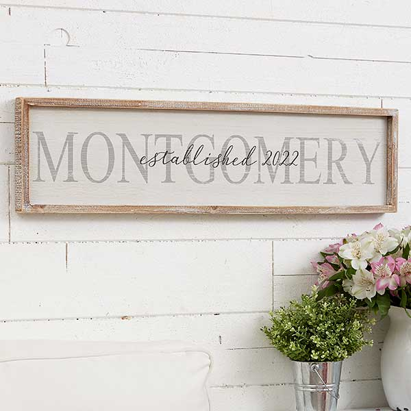 Family Name Personalized Whitewashed Wood Wall Art 30x8 For The Home