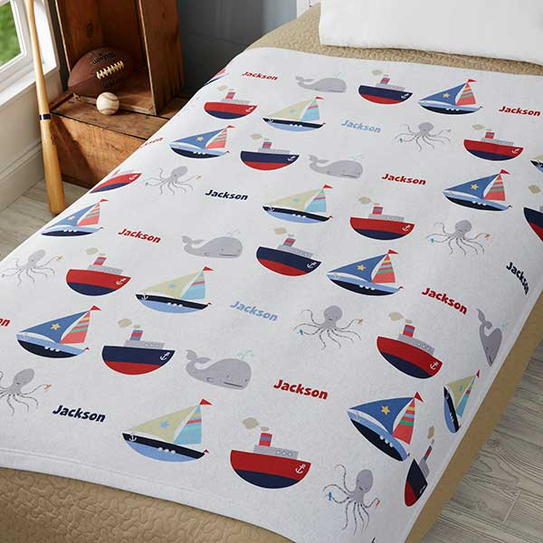Personalized Boats & Ships Sweatshirt Blanket for Boys - 19257