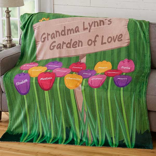 Personalized Fleece Blanket - Grandma's Garden - 19261