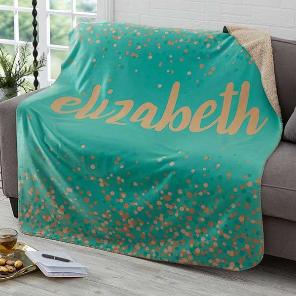 Sparkling Name 50x60 Personalized Sherpa Blanket