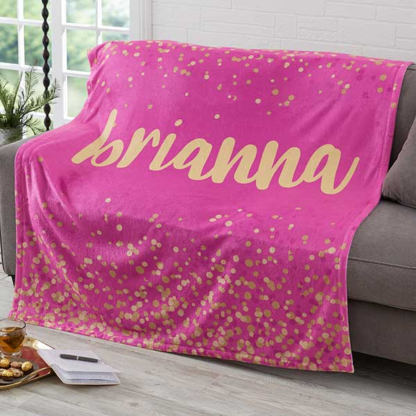 Sparkling Name Personalized Blankets For Teenage Girls - 19264