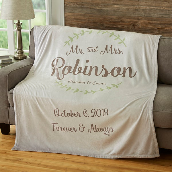 Mr Mrs Personalized 50x60 Wedding Blanket Anniversary Gifts