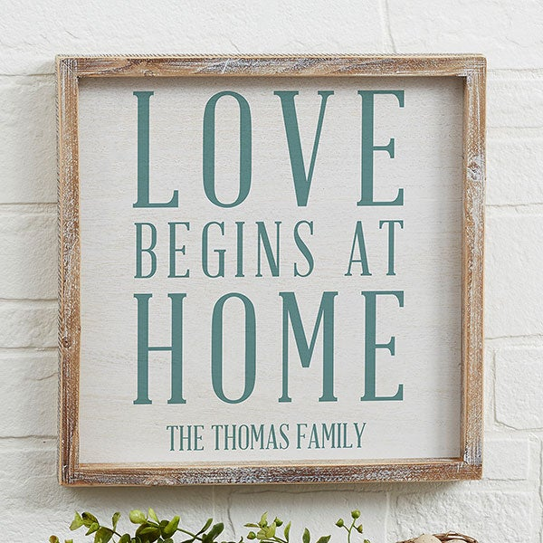 Custom Barnwood Wall Art - Love Begins At Home - 19273