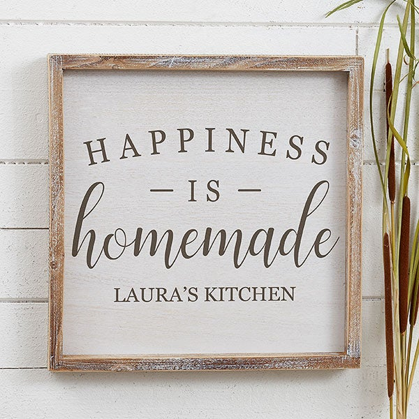 Happiness Is Homemade Handpainted Sign Handmade 12x12 Wall: Custom Barnwood Wall Art