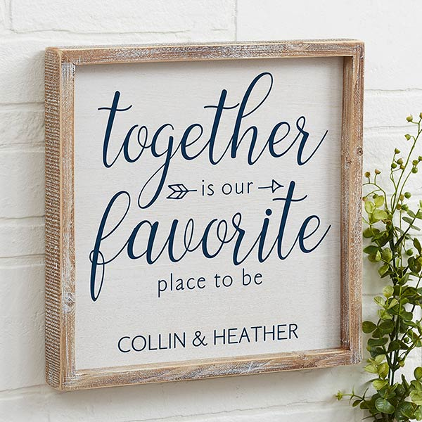 Personalized Romantic Word Art - Together | Barnwood Frame - 19280