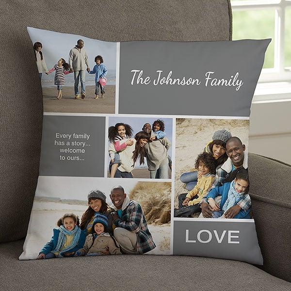 Photo Collage Throw Pillow - Family Love - 19319