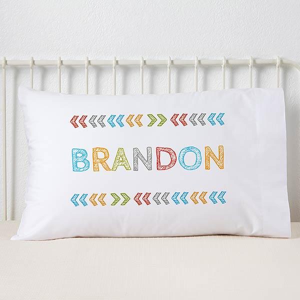 Personalized Kids' Pillowcases - Stencil Boy Name - 19327