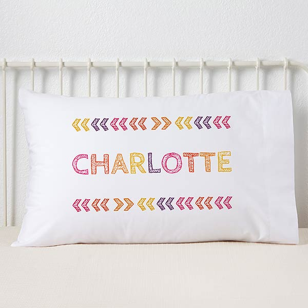Personalized Kids' Pillowcases - Stencil Girl Name - 19328