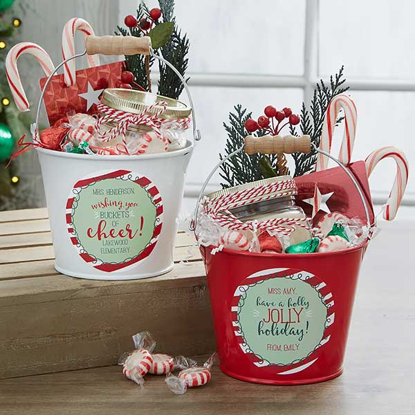 Personalized Teacher Gift Holly Jolly Metal Bucket