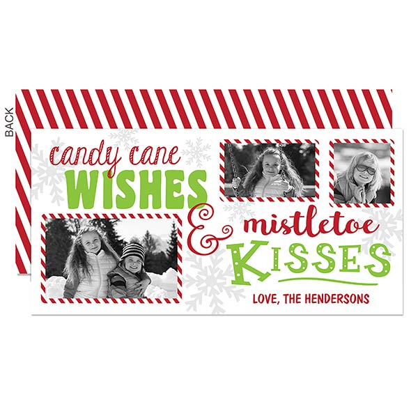Candy Cane Wishes Holiday Photo Postcards - 19339