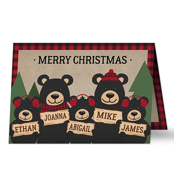 Personalized Christmas Cards - Cozy Bear Family - 19342