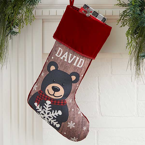 Holiday Bear Family Personalized Red Christmas Stocking