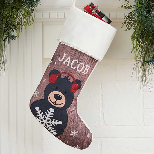 Bear Christmas Stocking.Holiday Bear Family Personalized Ivory Christmas Stocking