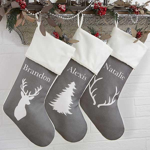Gray Christmas Stockings.Winter Silhouette Personalized Burgundy Trim Christmas Stockings