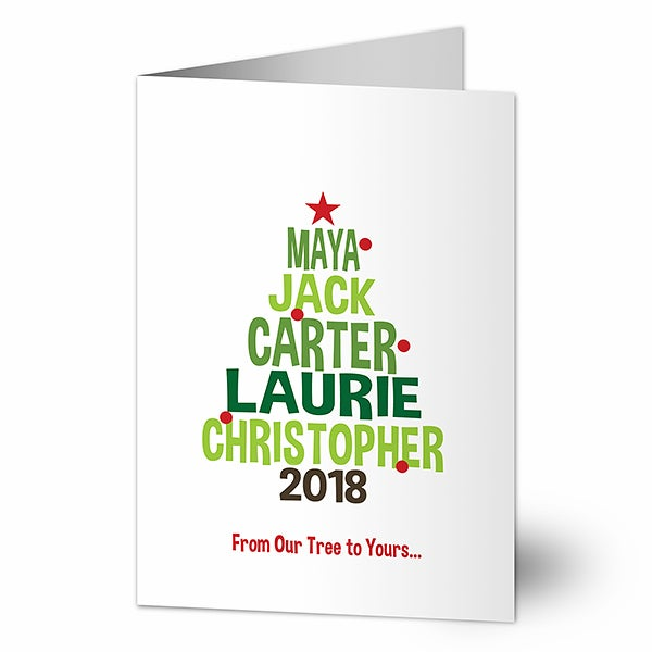 Personalized Christmas Cards - Christmas Family Tree - 19350