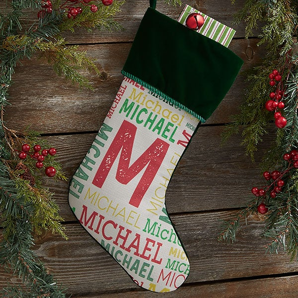 4a18f186eaf Personalized Christmas Stockings For Kids - Name   Monogram - 19353. Group   Green Stocking