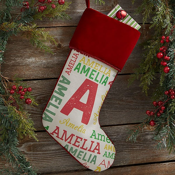 Personalized Christmas Stockings For Kids - Name & Monogram - 19353