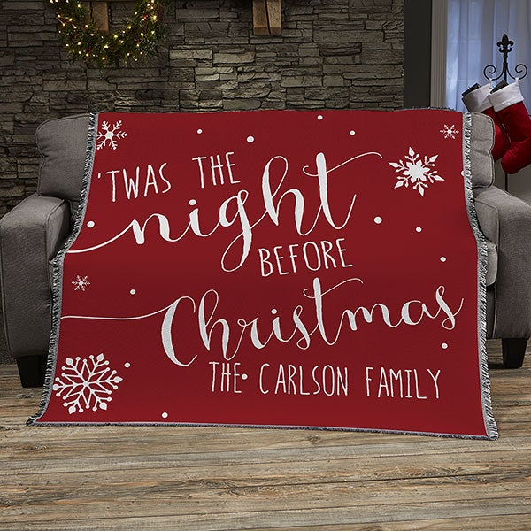 Christmas Blankets.Christmas Quotes Personalized 50x60 Woven Throw Blanket