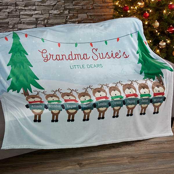 Personalized Fleece Blankets - Reindeer Family - 19361