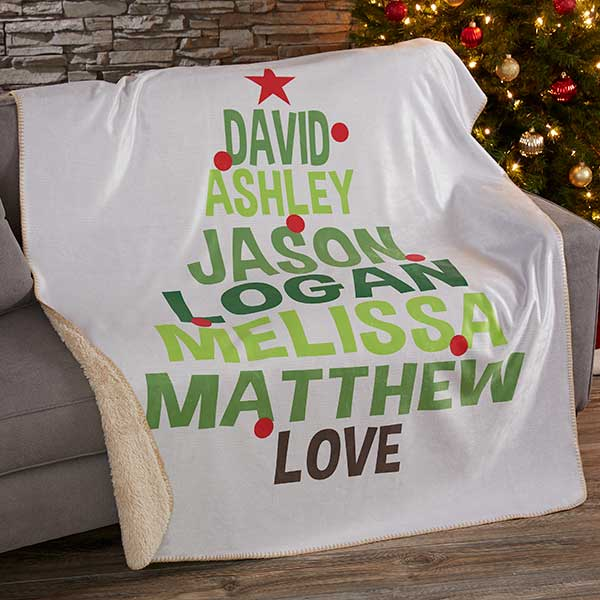 Personalized Sherpa Holiday Blankets - Christmas Family Tree - 19362