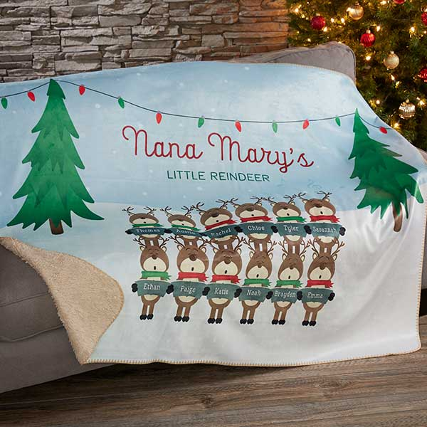 Personalized Sherpa Blankets - Reindeer Family - 19365