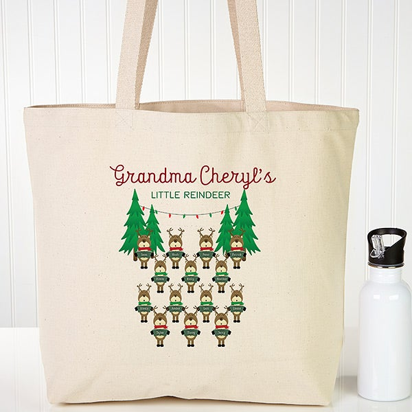 Personalized Canvas Totes - Reindeer Family - 19387