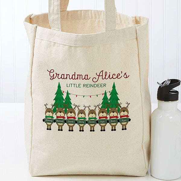 Personalized Canvas Tote Bag - Reindeer Family - 19388