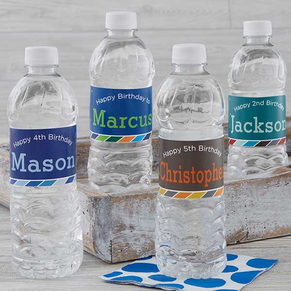 Personalized Water Bottle Labels - Birthday Boy - 19406