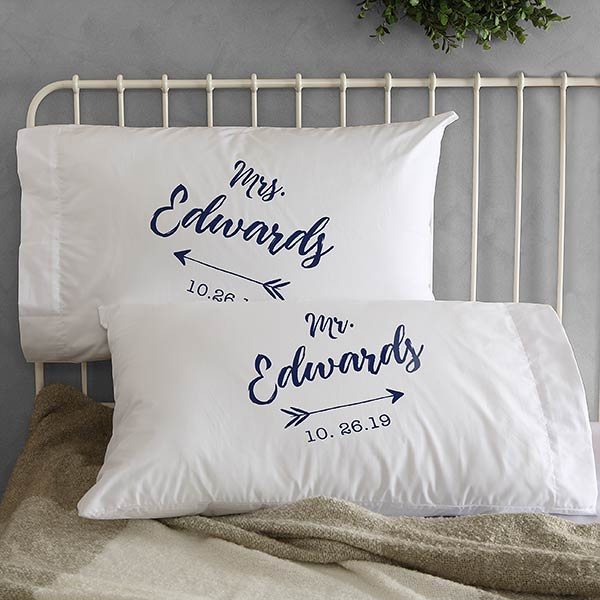 Personalized Wedding Pillowcases - Sparkling Love - 19431