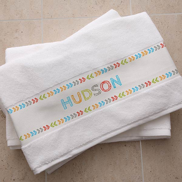 Personalized Bath Towels - Stencil Name - 19432
