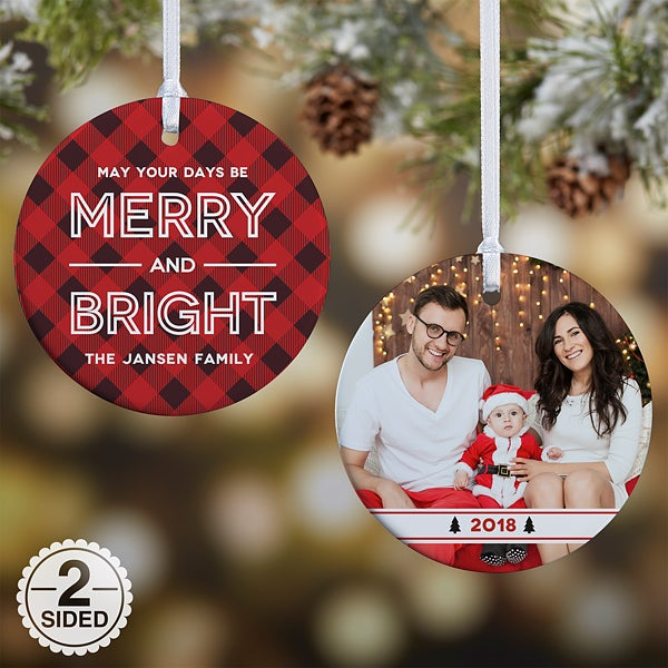 Personalized Plaid Ornaments - Merry & Bright - 19446