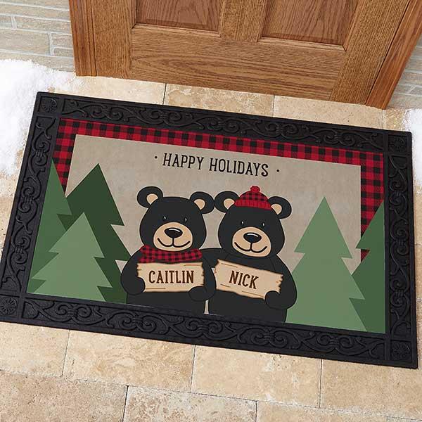 Personalized Holiday Doormats - Black Bear Family - 19461