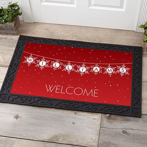 Personalized Holiday Doormats Festive Snowflakes - 19466