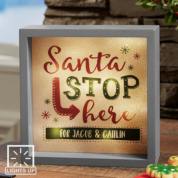 Personalized LED Light Shadow Box - Santa Stop Here - 19467