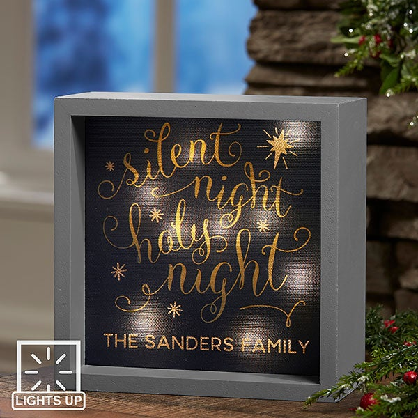 Personalized LED Light Shadow Box - Silent Night - 19468