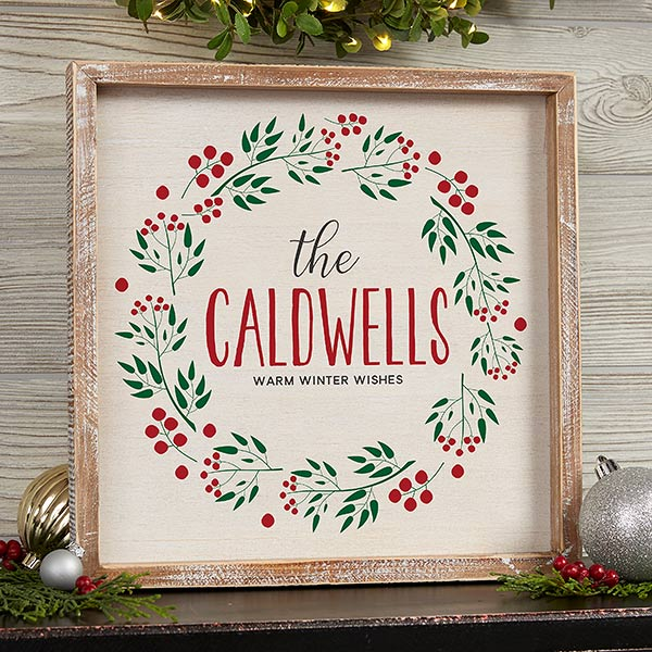 Personalized Rustic Frame Wall Art - Christmas Wreath - 19471