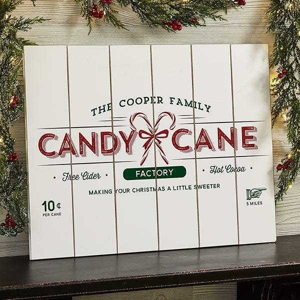 Vintage Holiday 16x20 Personalized Wooden Slat Sign