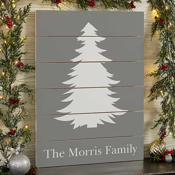 Personalized Wooden Plank Signs - Winter Silhouette - 19475