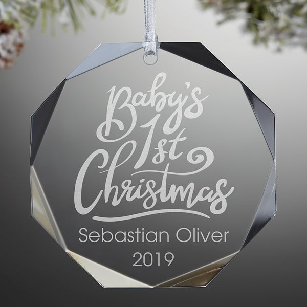 Baby's First Christmas Engraved Glass Ornament,Baby's First Christmas Engraved Glass Ornament - 19487