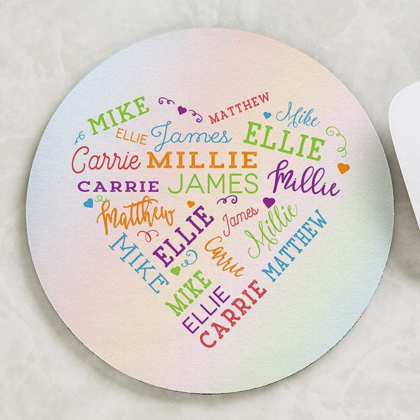 Personalized Round Mouse Pad - Word Art Heart - 19518