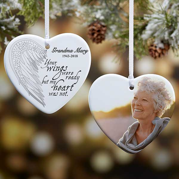 Memorial Christmas Ornaments.Angel Wings Personalized Photo Memorial Ornament