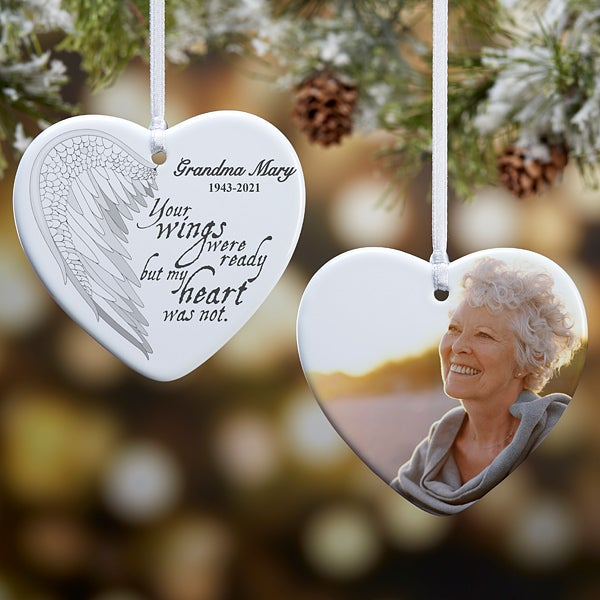 Angel Wings Personalized Photo Memorial Ornament Christmas Clearance
