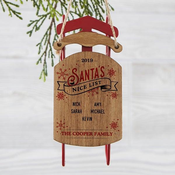 Personalized Vintage Sled Ornament - Santa's Nice List - 19561
