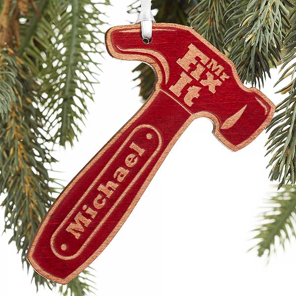 Engraved Wood Ornaments - Mr. Fix-It Hammer - 19562 - Mr. Fix-It Personalized Red Wood Hammer Ornament - Christmas Clearance